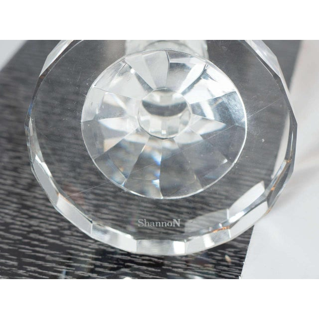 Transparent Art Deco Style Geometric Cut Crystal Candleholders by Shannon For Sale - Image 8 of 9