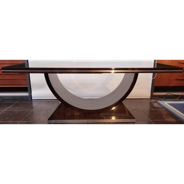 This stunning Art Deco extendable dining table is new/old designer stock that was custom made in Italy about 25 years ago....