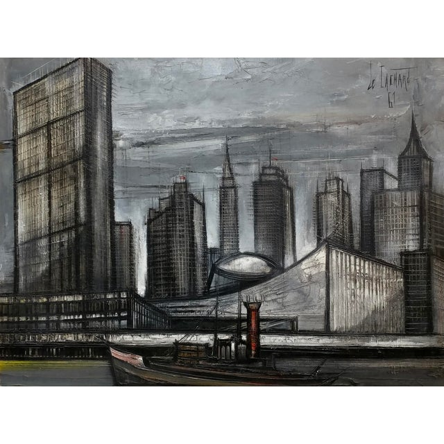 French Regis De Cachard - New York Skyline 1961 -Oil Painting For Sale - Image 3 of 10