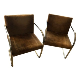 Vintage Mid Century Miles Van Der Roche Chrome Cantilever Chair- A Pair For Sale