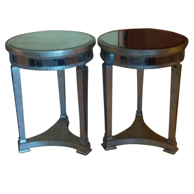 Borghese Style Round Mirror Accent Tables - A Pair - Image 1 of 5