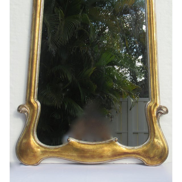 Vintage Hollywood Regency Dorothy Draper-Style Parcel Gilt Gold & Silver Ornate Curvy Mirror For Sale - Image 10 of 13