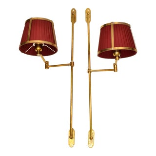 Pair Marina Retractable Swing Arm Sconces Original Brass Shades 2 Sets Available For Sale