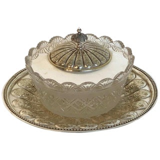 English Silver Plated and Crystal Caviar Dish, 1880 For Sale