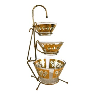 1960s Mid Century Modern Culver Glass Chip & Dip Bowls & Caddy - Set of 4 For Sale