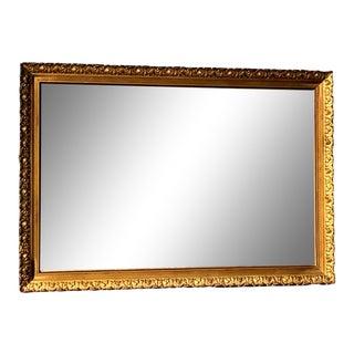 Vintage Hand-Carved Ornate Wood Gold Framed Wall Mirror For Sale