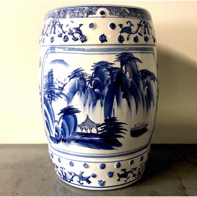 Chinese Blue/White Porcelain Garden Stool For Sale - Image 4 of 10