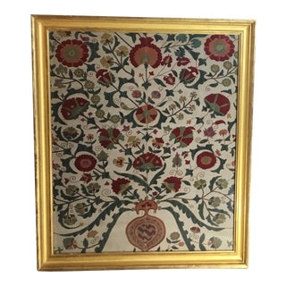 Hand Embroidery Silk Suzani Textile, Framed For Sale