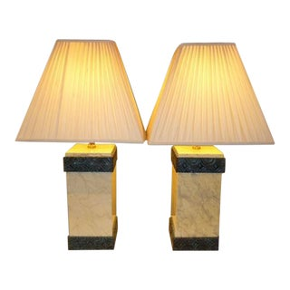 1980s Vintage Maitland Smith Lacquered Art Deco Style Table Lamps - A Pair