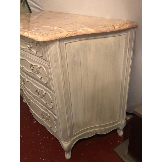 Swedish Marble-Top Four-Drawer Chest or Commode or Nightstand Louis XV Style For Sale - Image 11 of 13