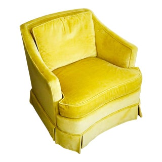 Vintage Citron Velvet Club Lounge Chairs by Heritage - Pair Available For Sale