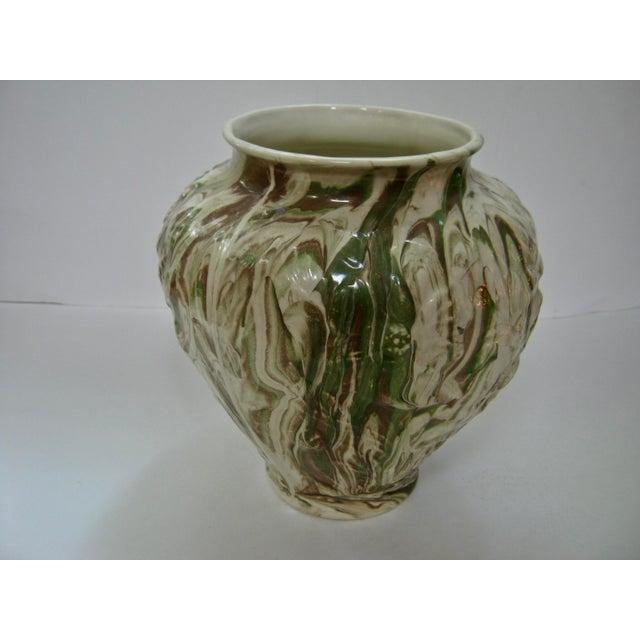Art Nouveau 1979 Art Nouveau Mottled Glazed Ceramic Vase For Sale - Image 3 of 7