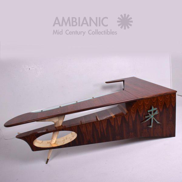 Brown Modernist Rosewood Desk with Mendoza Hardware For Sale - Image 8 of 10