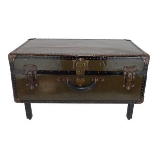 Coffee Table WWII Army Green Trunk Footlocker For Sale