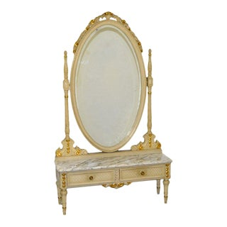French Marble Top Painted Pier Table and Mirror Vanity For Sale