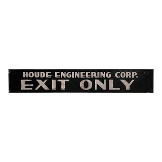 C1940s Houde Engineering Exit Only Sign For Sale