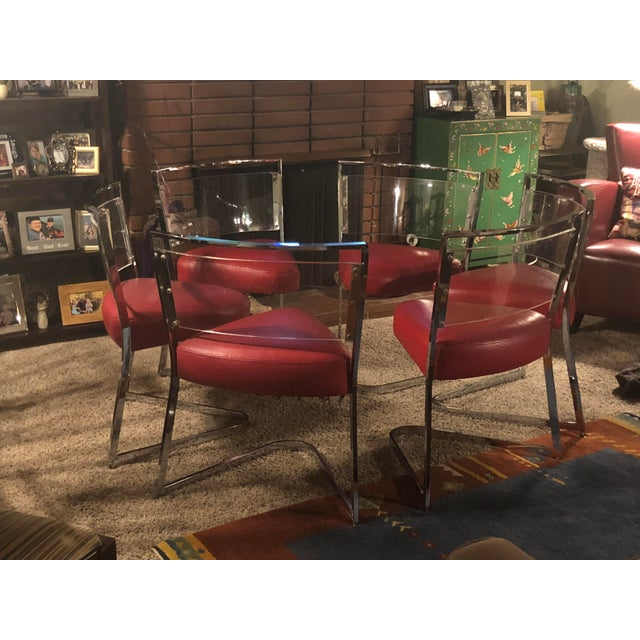 1970 Vintage Pie Wedge Form Leather/Vinyl Chrome and Lucite Chairs - Set of 6 For Sale In San Francisco - Image 6 of 6