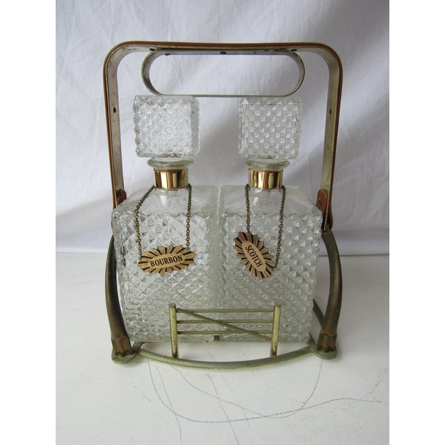 Transparent Antique Clear Glass Decanter Set in Stand With Handle For Sale - Image 8 of 8