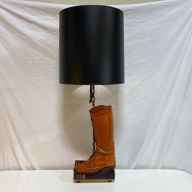 Hermès Orange Riding Boot Lamp For Sale - Image 11 of 12
