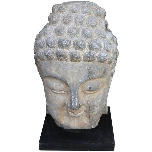 Metal Antique Sandstone Buddha on Steel Base $2,400 For Sale - Image 7 of 7
