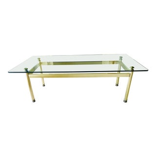 Mid Century Coffee Table Brass and Glass Hollywood Regency