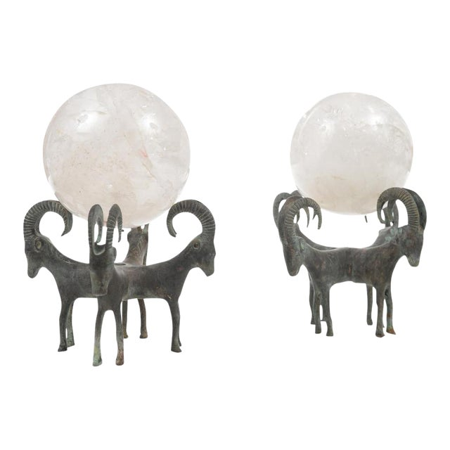 Rock Crystal Globes on Bronze Stands - A Pair For Sale