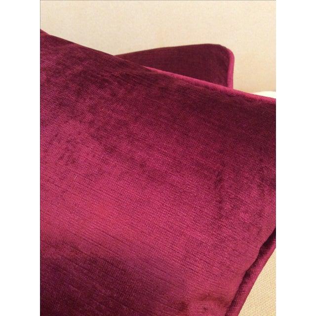 Burgundy Velvet Pillows - A Pair - Image 9 of 9