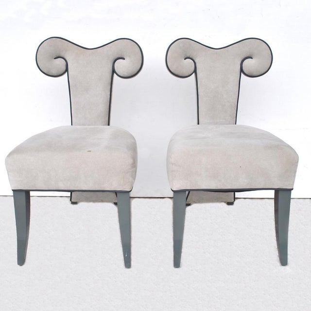 Neoclassical Pair of Rams Head Dining Side Chairs by Brueton For Sale - Image 3 of 11