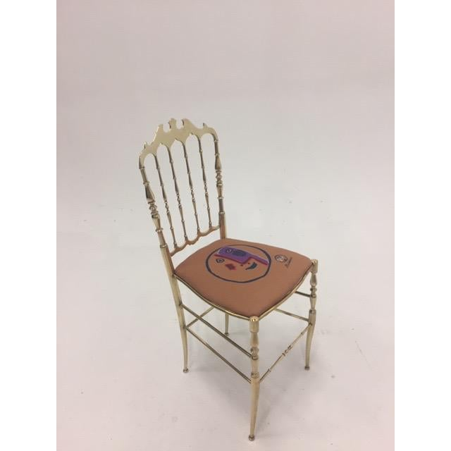 Italian 1960s Vintage Italian Solid Brass Chiavari Spindle Back Chair For Sale - Image 3 of 9