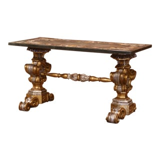 Early 20th Century Italian Carved Silver and Gilt Coffee Table With Marble Top For Sale
