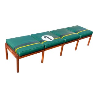 Vintage Mid-Century Modern Walnut and Green Leatherette Bench in British Racing Motif For Sale