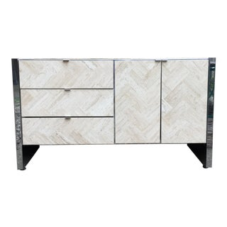 Vintage Ello Travertine Buffet Designed By Guy Bar
