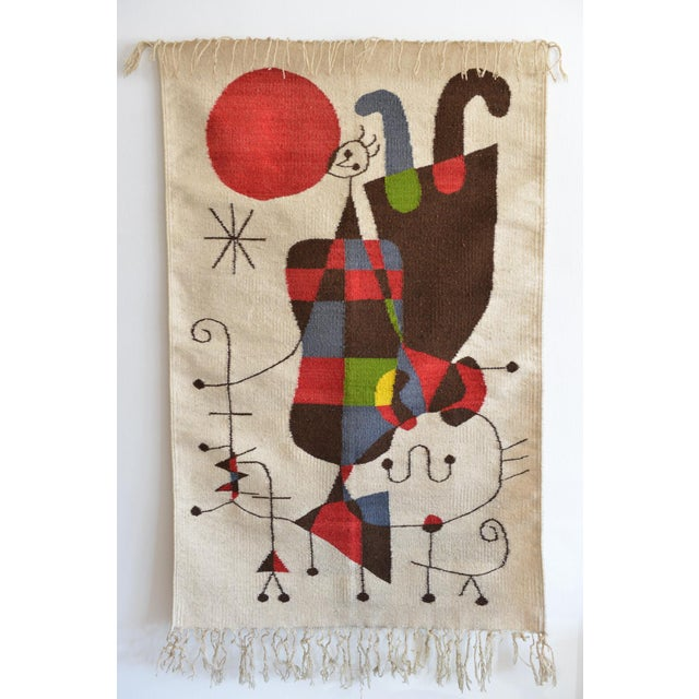 """'Upside Down Figures' tapestry in the style of Miro, circa 1965. Good vintage condition. Measures 52"""" L x 32"""" W. Beautiful..."""