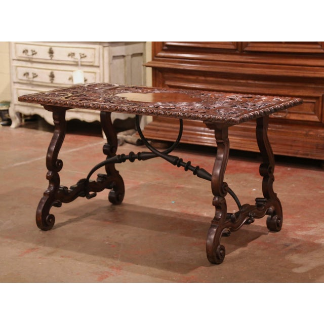 19th Century Spanish Carved Walnut and Wrought Iron Console Center Table For Sale - Image 11 of 13