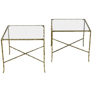 Pair of French Bronze and Glass Tables by Bagues For Sale