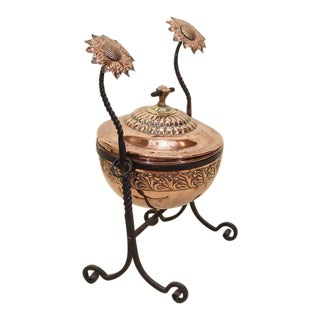 Antique English Copper and Brass Coal Bucket, circa 1890