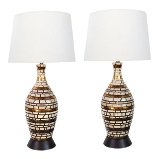 1950s Mid-Century Incised Geometric Bottle-Form Lamps With Gilt Highlights - a Pair For Sale