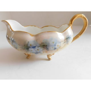 Limoges Hand-Painted Porcelain Footed Creamer/Saucer Preview