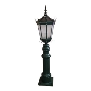 Vintage Large Cast Iron Street Lamp With Column