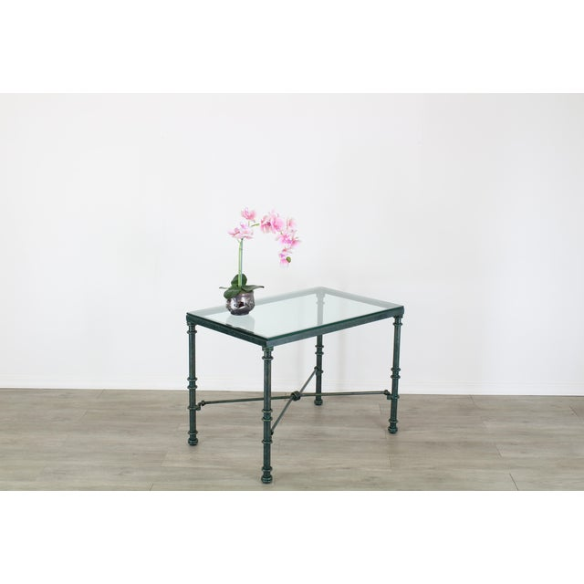 Diego Giacometti style heavy iron forged Side table with the original mixed green patina this table has some wear, paint...