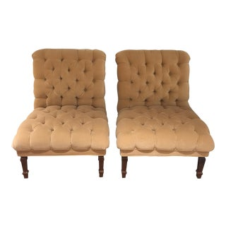 George Smith Tufted Upholstered Slipper Chairs - a Pair