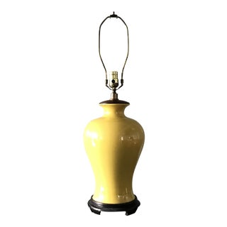 Chinoiserie Yellow Glazed Ceramic Table Lamp For Sale
