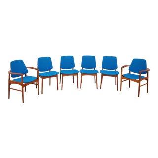 Vintage 1960s Arne Hovmand Olsen Teak & Brass Dining Chairs - Set of 6 For Sale