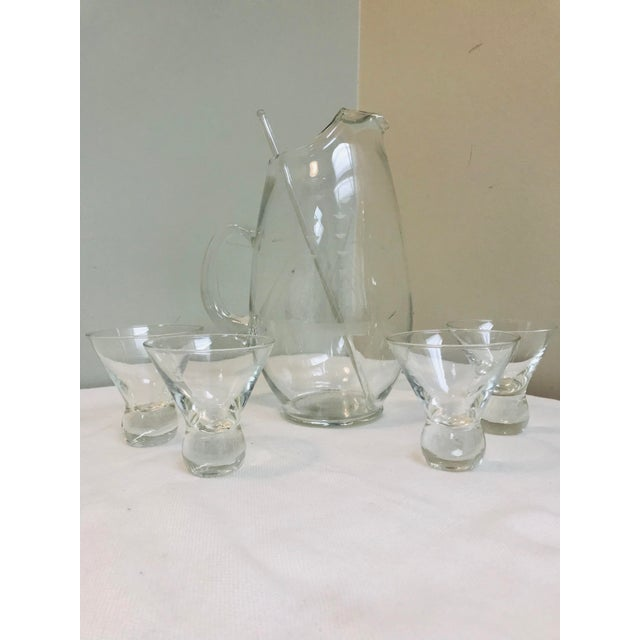 Mid Century Modern Acid Etched Schooner Glass Pitcher & Ball Bottom Glasses - 6 Pieces For Sale In Saint Louis - Image 6 of 6