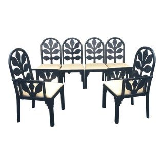Set of Custom Lacquered Black Dining Chairs