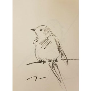 Contemporary Trujillo Original Little Bird on Branch Charcoal Paper Sketch Drawing - 9x12 For Sale