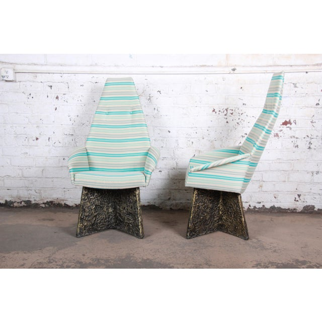 1970s Adrian Pearsall Mid-Century Brutalist High Back Lounge Chairs - a Pair For Sale - Image 5 of 10