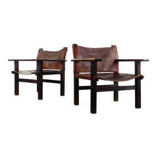Safari Chairs in Distressed Leather and Aged Wood, Mexico For Sale