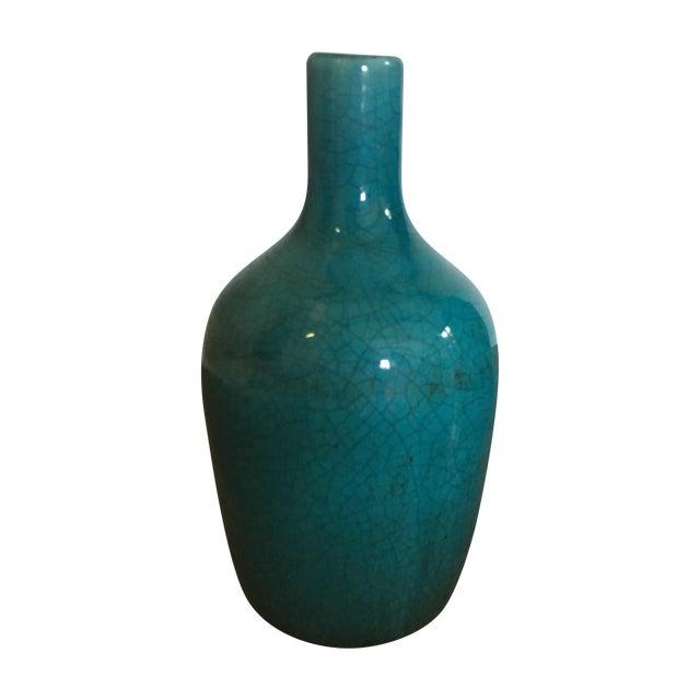 Teal Ceramic Crackle Decorative Vase - Image 1 of 6
