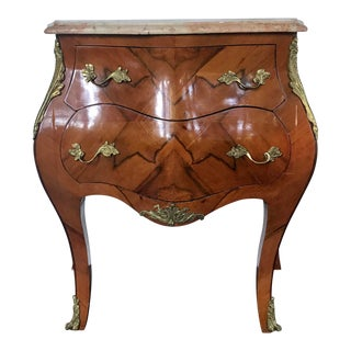 French Louis XV Style Bombe Marble Top 2-Drawer Chest For Sale